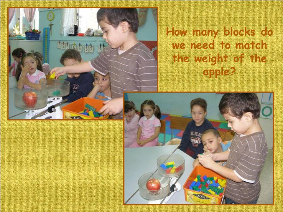 How many blocks do we need to match the weight of the apple