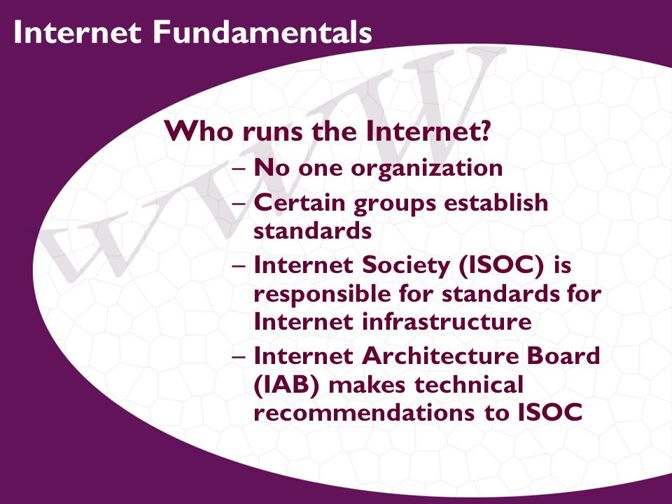 Internet Fundamentals Who runs the Internet.