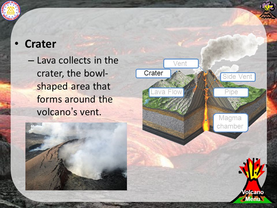 Crater – Lava collects in the crater, the bowl- shaped area that forms around the volcano's vent.