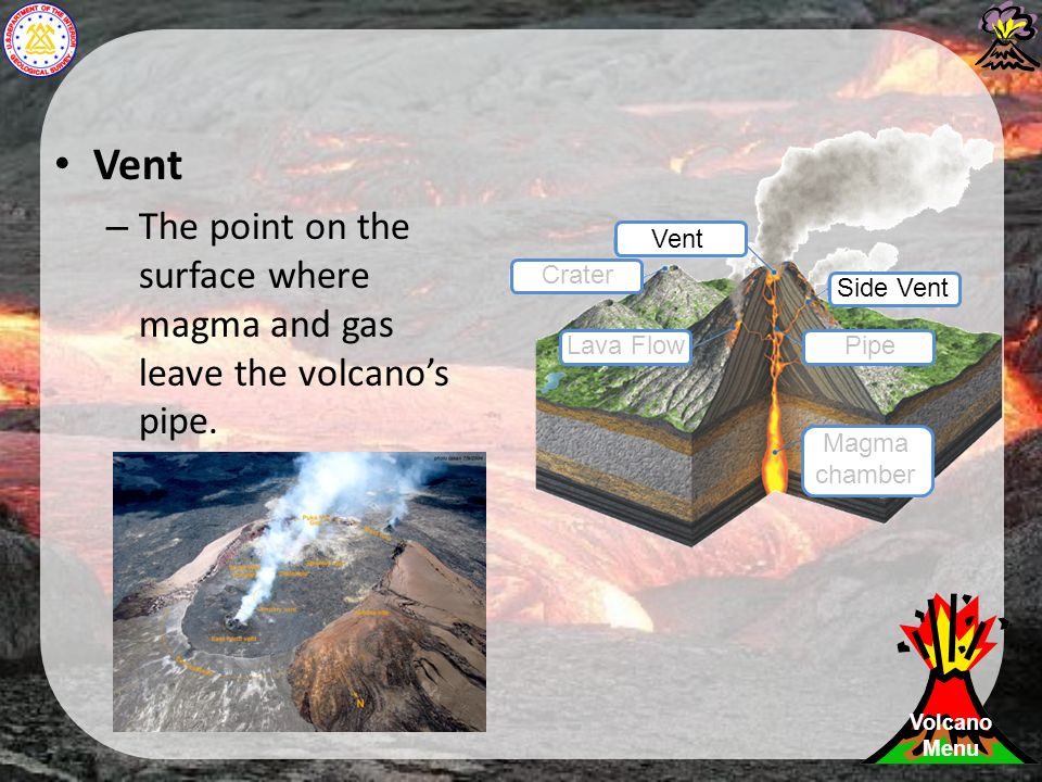 Vent – The point on the surface where magma and gas leave the volcano's pipe.