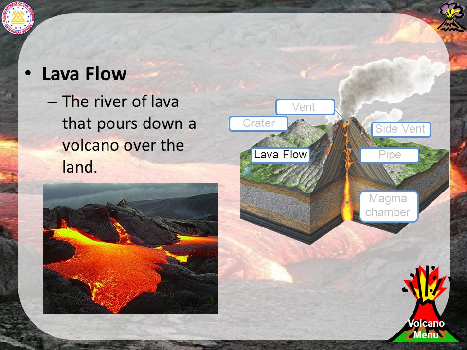 Lava Flow – The river of lava that pours down a volcano over the land.