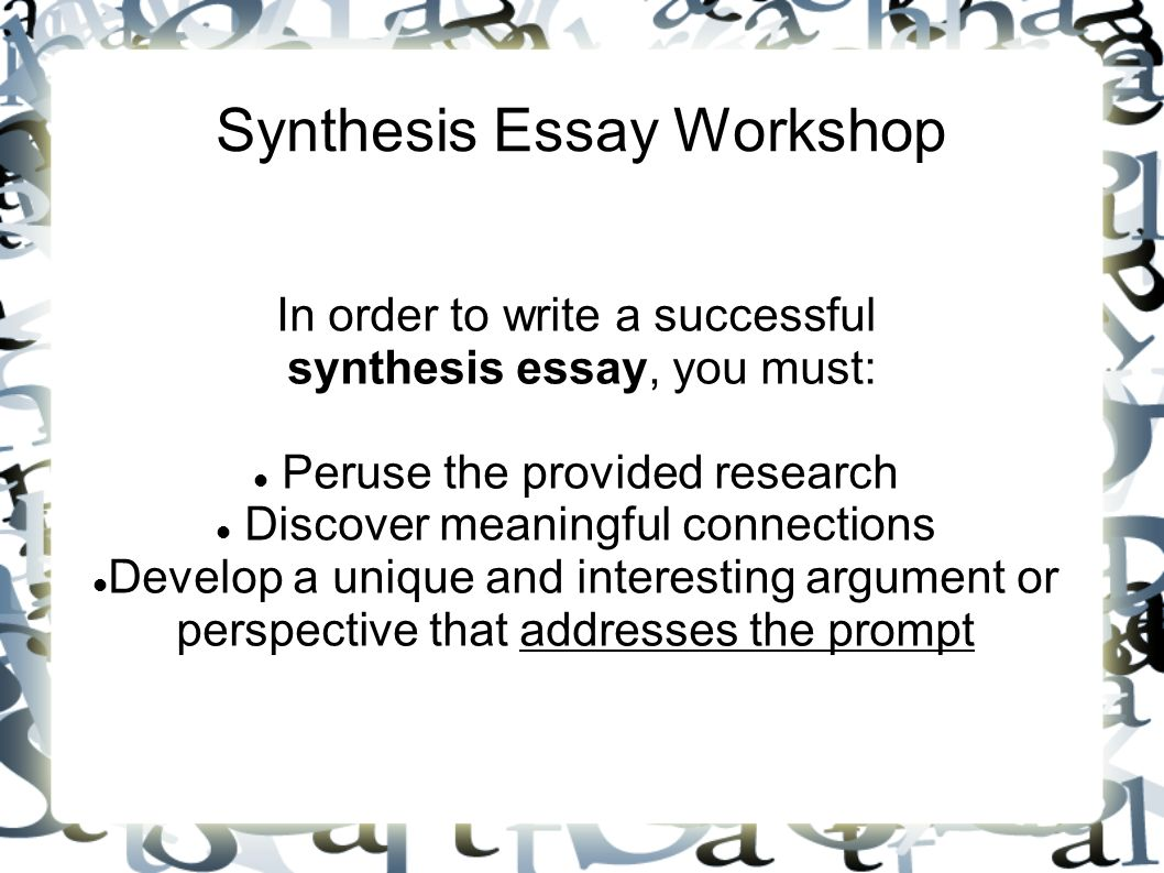 synthesis essay workshop in order to write a successful synthesis 1 synthesis essay workshop in order to write a successful synthesis essay you must se the provided research discover meaningful connections develop a