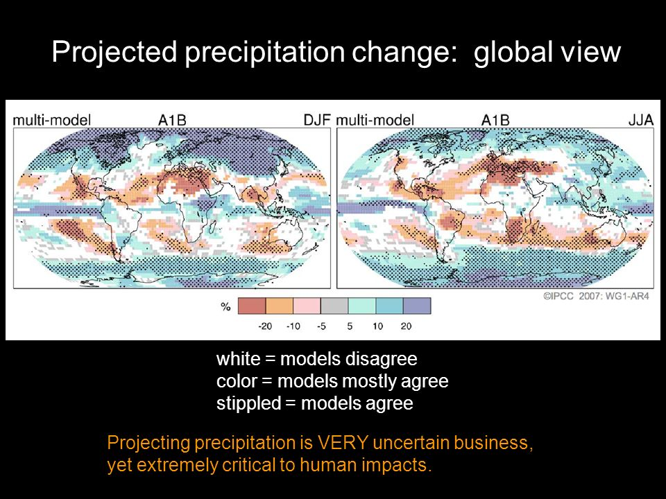 white = models disagree color = models mostly agree stippled = models agree Projecting precipitation is VERY uncertain business, yet extremely critical to human impacts.