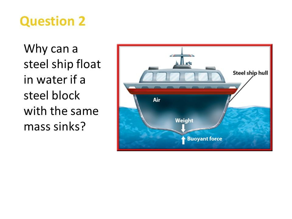 Question 2 Why can a steel ship float in water if a steel block with the same mass sinks