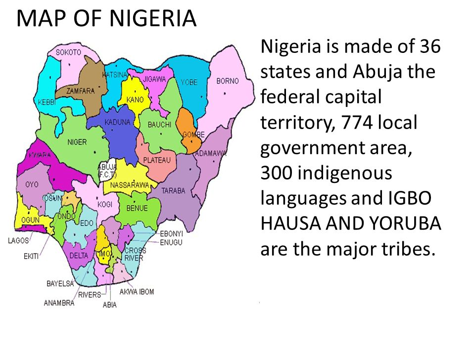 MAP OF NIGERIA Nigeria Is Made Of States And Abuja The Federal - abuja map