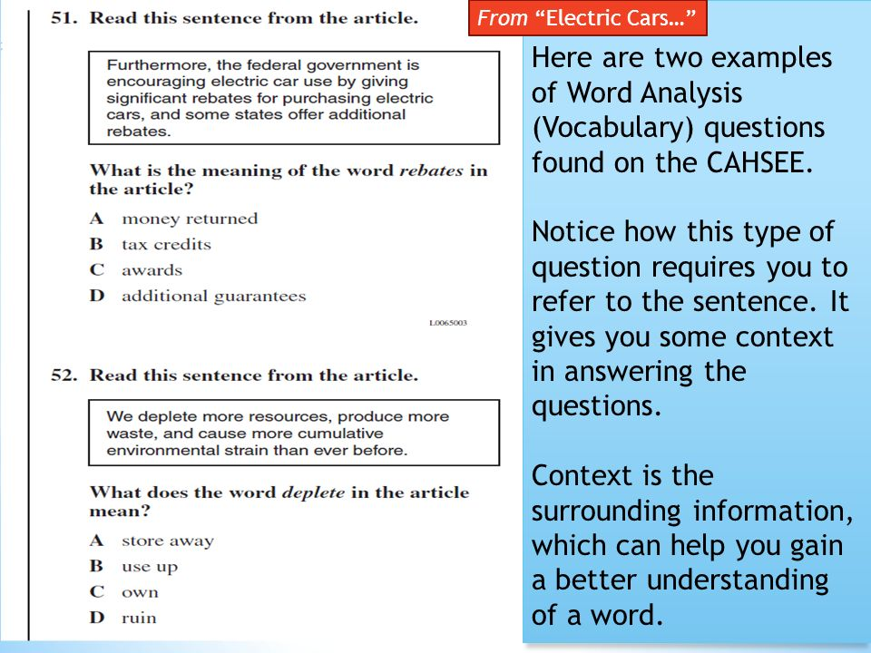 mcq vocabulary and essay test