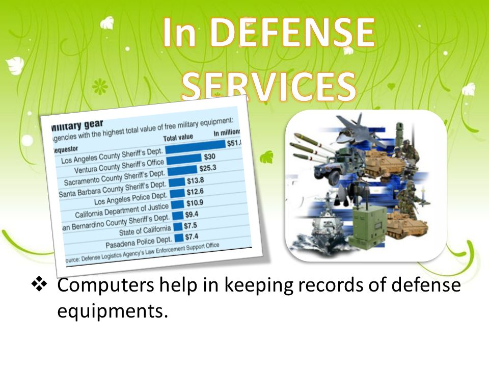  Computers help in keeping records of defense equipments.
