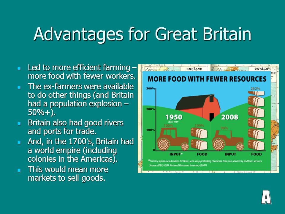 Advantages for Great Britain Led to more efficient farming – more food with fewer workers.