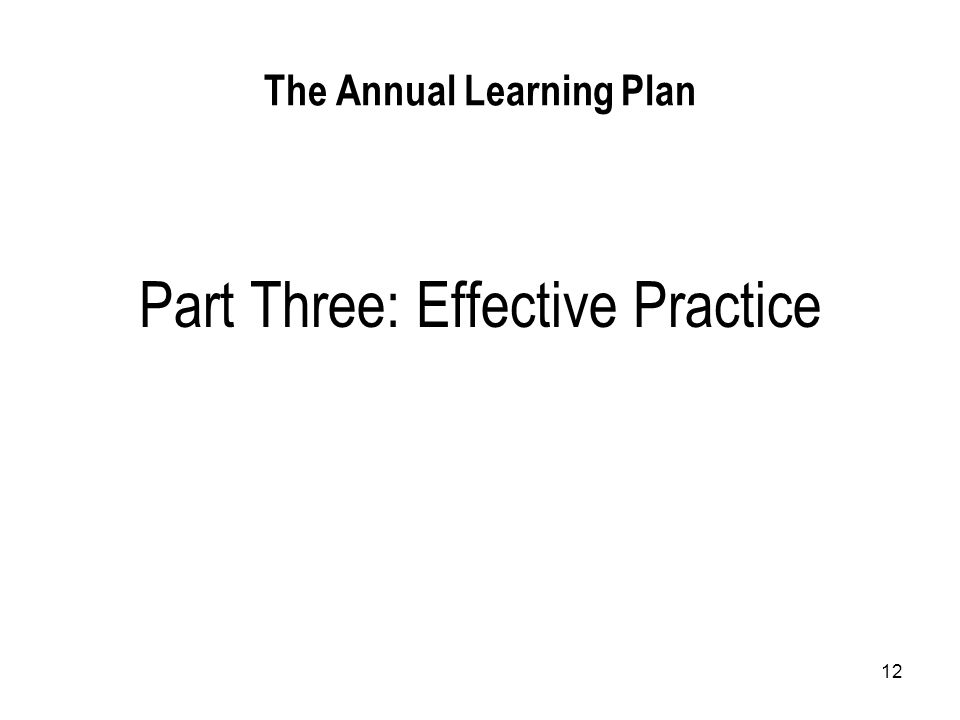 12 The Annual Learning Plan Part Three: Effective Practice