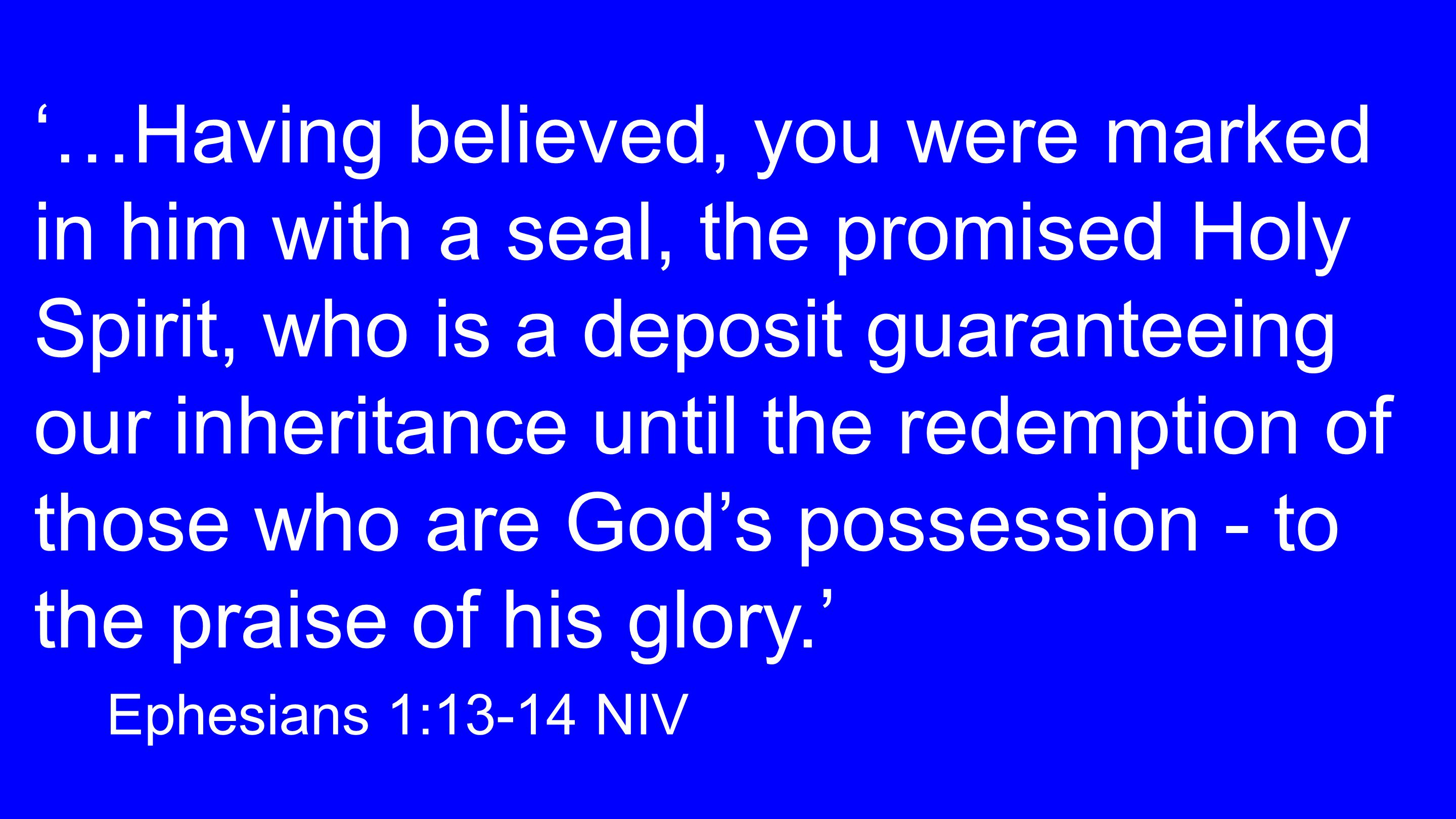 '…Having believed, you were marked in him with a seal, the promised Holy Spirit, who is a deposit guaranteeing our inheritance until the redemption of those who are God's possession - to the praise of his glory.' Ephesians 1:13-14 NIV