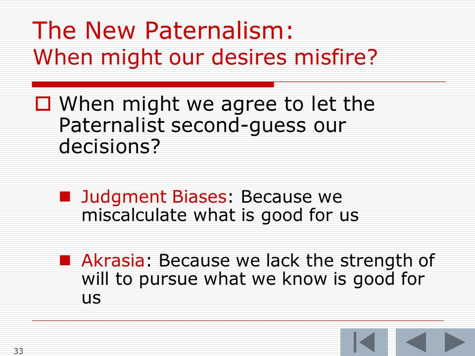 33 The New Paternalism: When might our desires misfire.