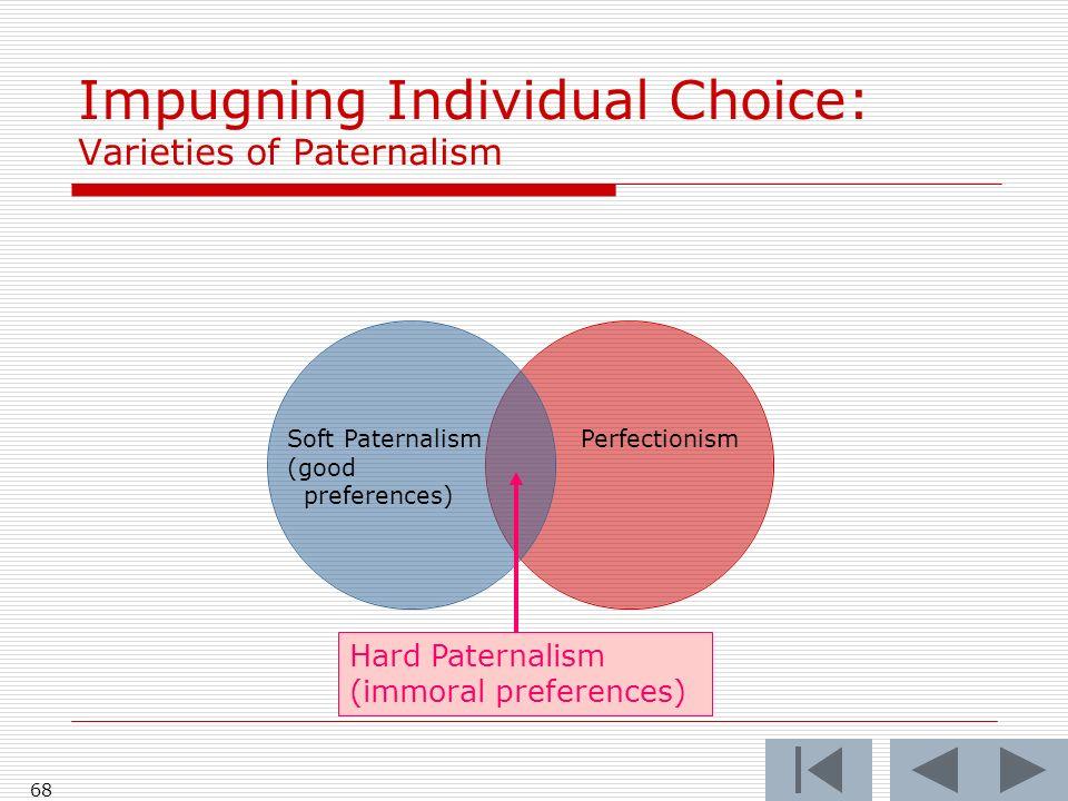 68 PerfectionismSoft Paternalism (good preferences) Impugning Individual Choice: Varieties of Paternalism Hard Paternalism (immoral preferences)