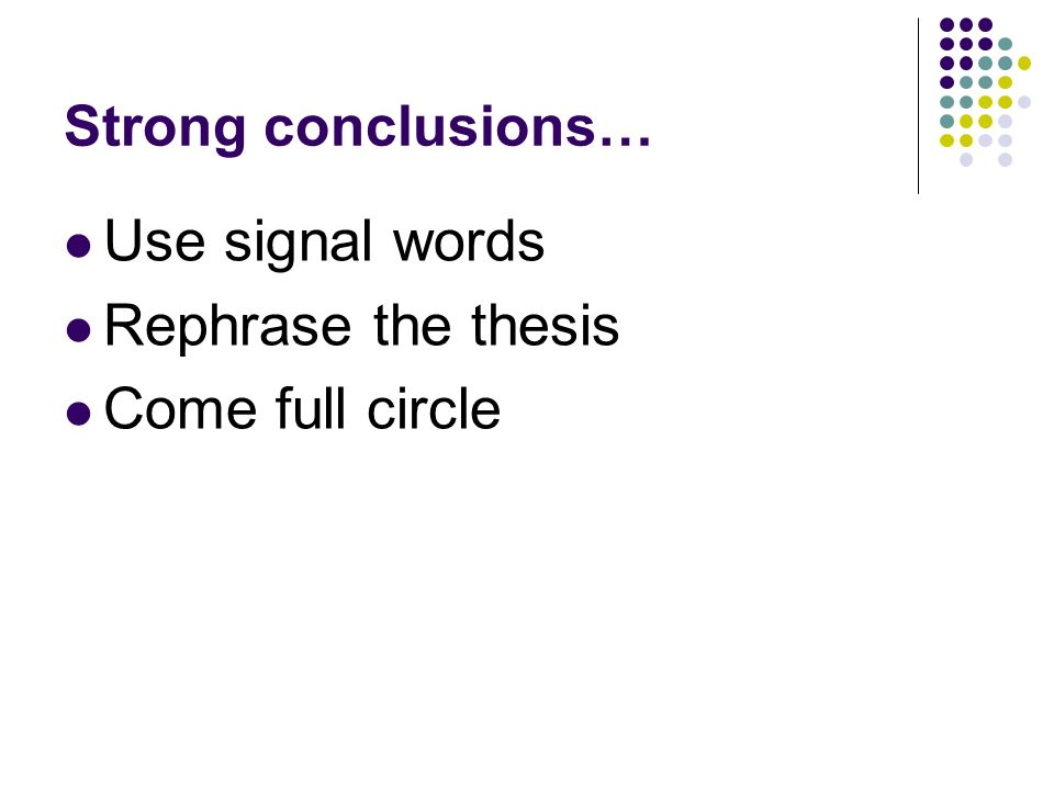 Conclusion or conclusions