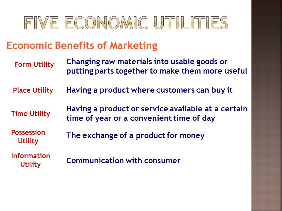 Economic Benefits of Marketing Form Utility Place Utility Time Utility Possession Utility Information Utility Changing raw materials into usable goods or putting parts together to make them more useful Having a product where customers can buy it Having a product or service available at a certain time of year or a convenient time of day The exchange of a product for money Communication with consumer