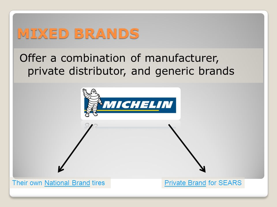 MIXED BRANDS Offer a combination of manufacturer, private distributor, and generic brands Their own National Brand tiresPrivate Brand for SEARS