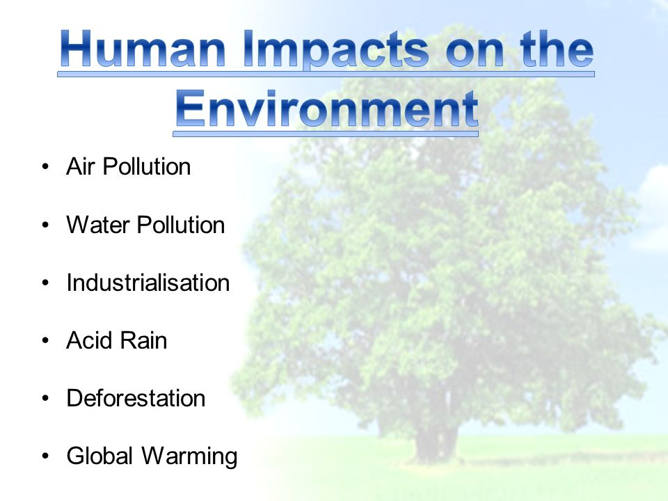 Air Pollution Water Pollution Industrialisation Acid Rain Deforestation Global Warming