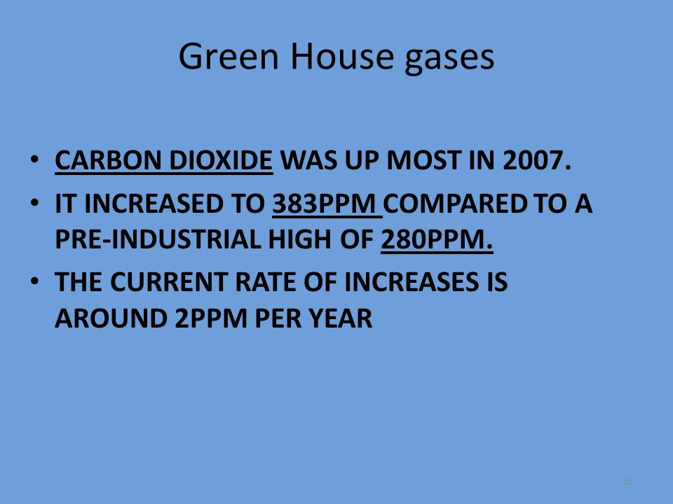 35 Green House gases CARBON DIOXIDE WAS UP MOST IN 2007.