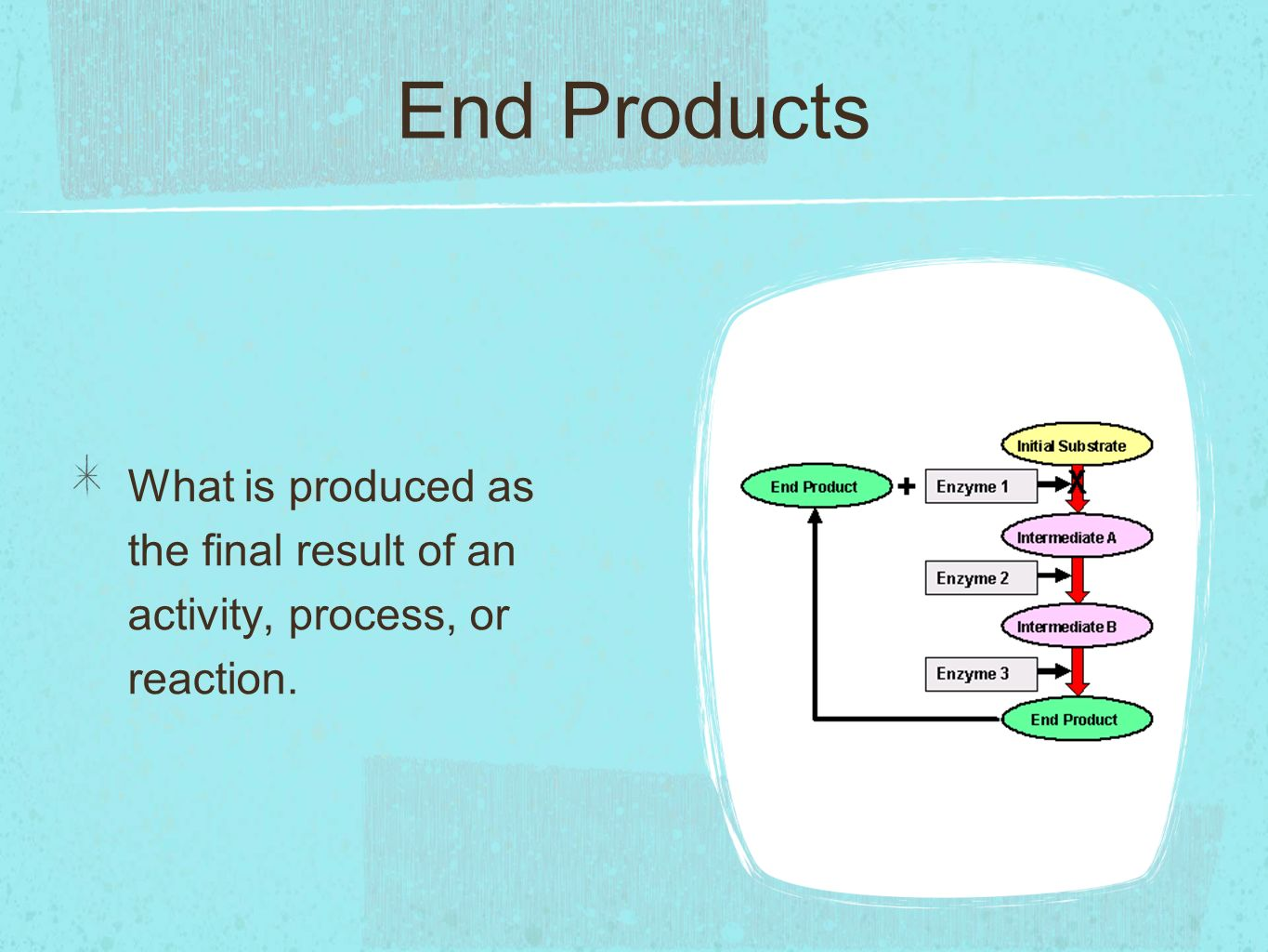 End Products What is produced as the final result of an activity, process, or reaction.