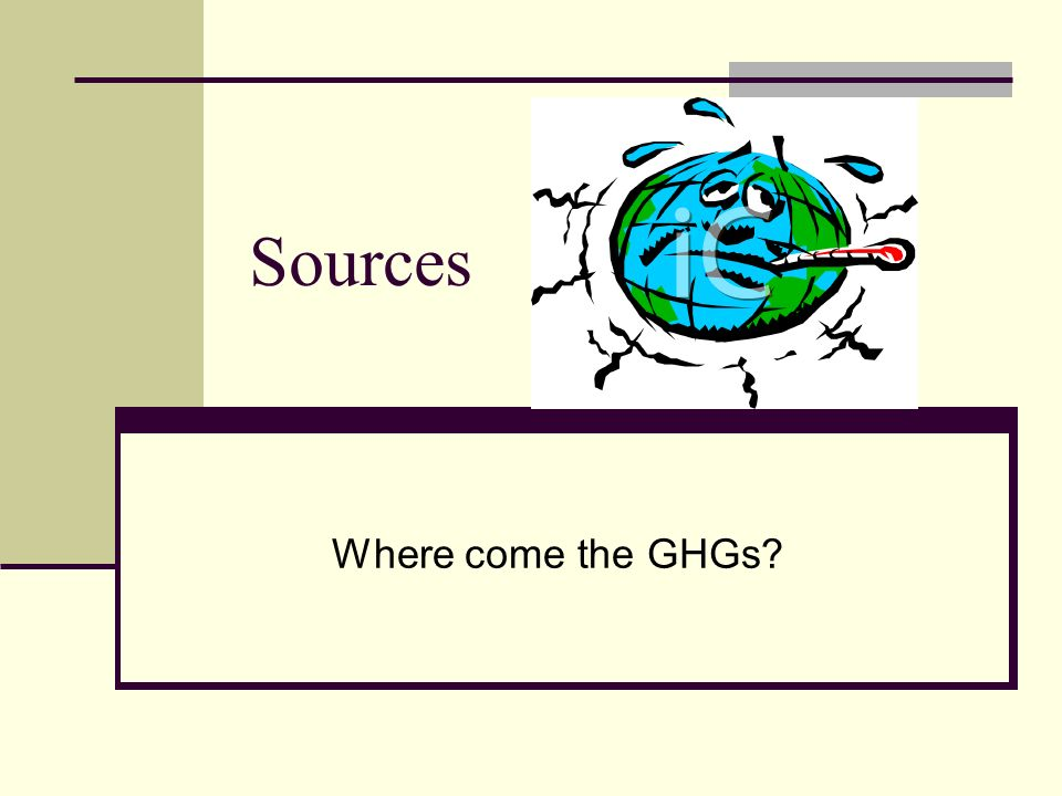 Sources Where come the GHGs
