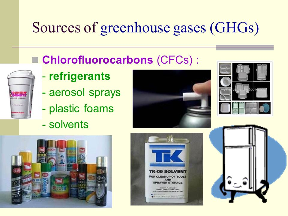 Sources of greenhouse gases (GHGs) Chlorofluorocarbons (CFCs) : - refrigerants - aerosol sprays - plastic foams - solvents
