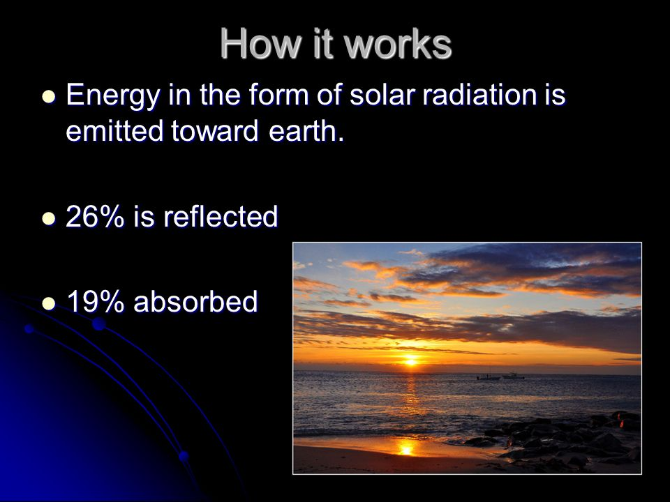 How it works Energy in the form of solar radiation is emitted toward earth.