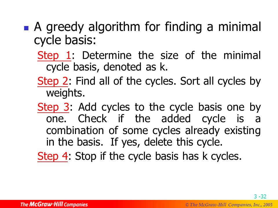 © The McGraw-Hill Companies, Inc., The minimal cycle basis is {A 1, A 2 }, where A 1 ={ab, bc, ca} and A 2 = {ac, cd, da}.