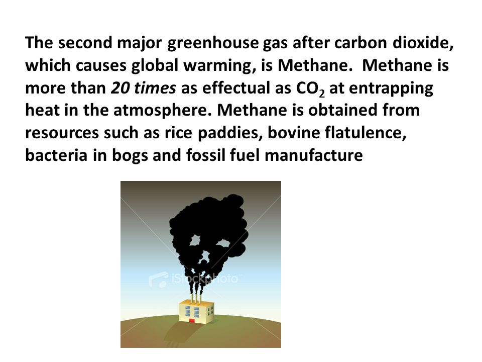 The second major greenhouse gas after carbon dioxide, which causes global warming, is Methane.