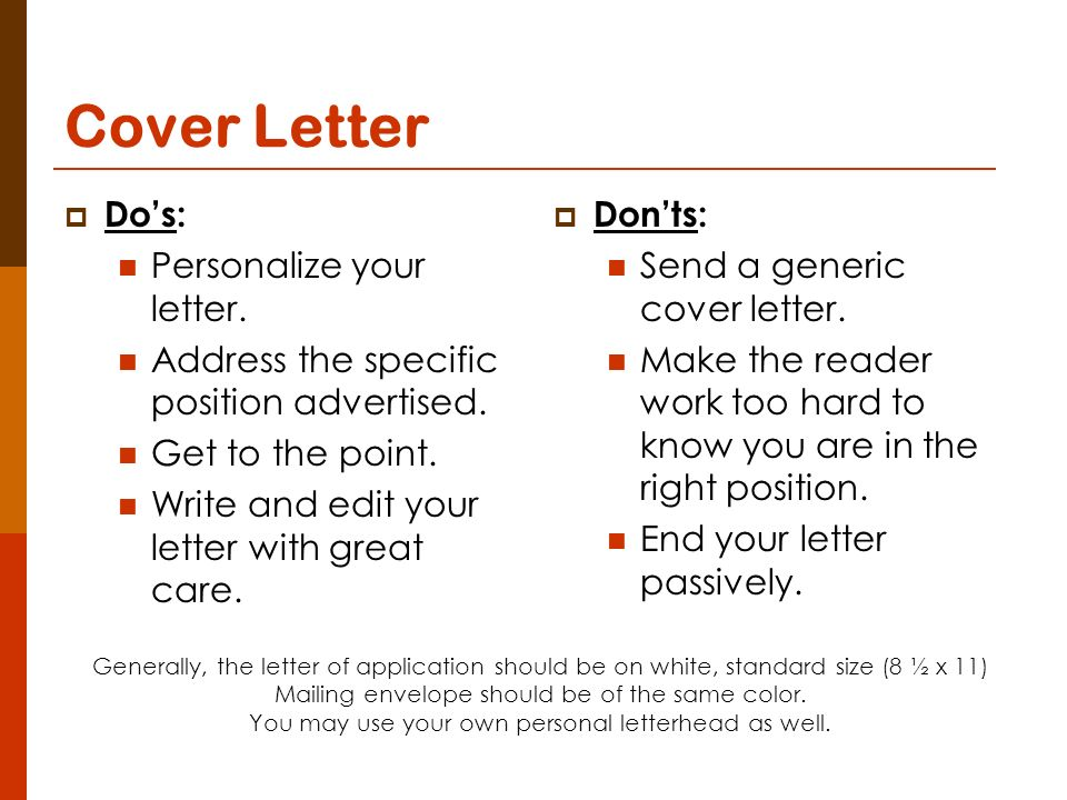 dos and don ts of cover letters