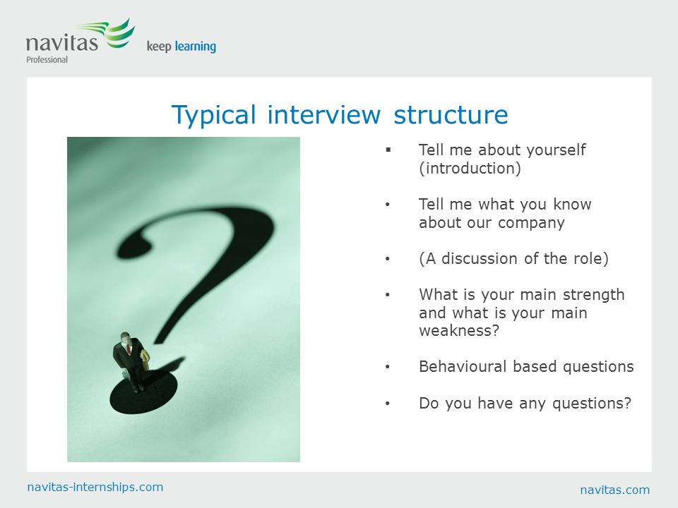 Behavioural Based Questions Do You Have Any Questions? Navitas.com  Navitas Internships.com Typical Interview Structure  Tell Me About Yourself