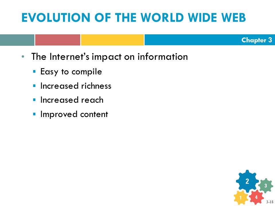 Chapter 3 EVOLUTION OF THE WORLD WIDE WEB The Internet's impact on information  Easy to compile  Increased richness  Increased reach  Improved content 3-18