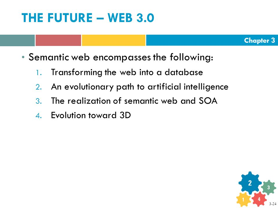 Chapter 3 THE FUTURE – WEB 3.0 Semantic web encompasses the following: 1.