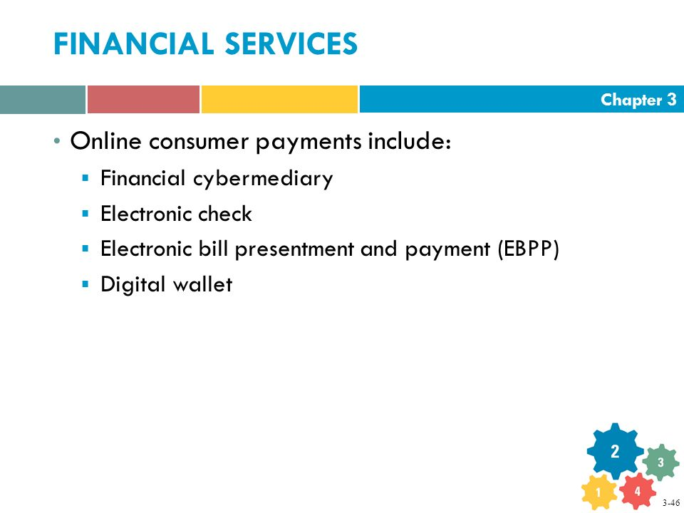 Chapter 3 FINANCIAL SERVICES Online consumer payments include:  Financial cybermediary  Electronic check  Electronic bill presentment and payment (EBPP)  Digital wallet 3-46