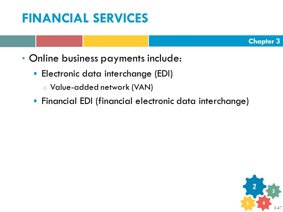 Chapter 3 FINANCIAL SERVICES Online business payments include:  Electronic data interchange (EDI) o Value-added network (VAN)  Financial EDI (financial electronic data interchange) 3-47