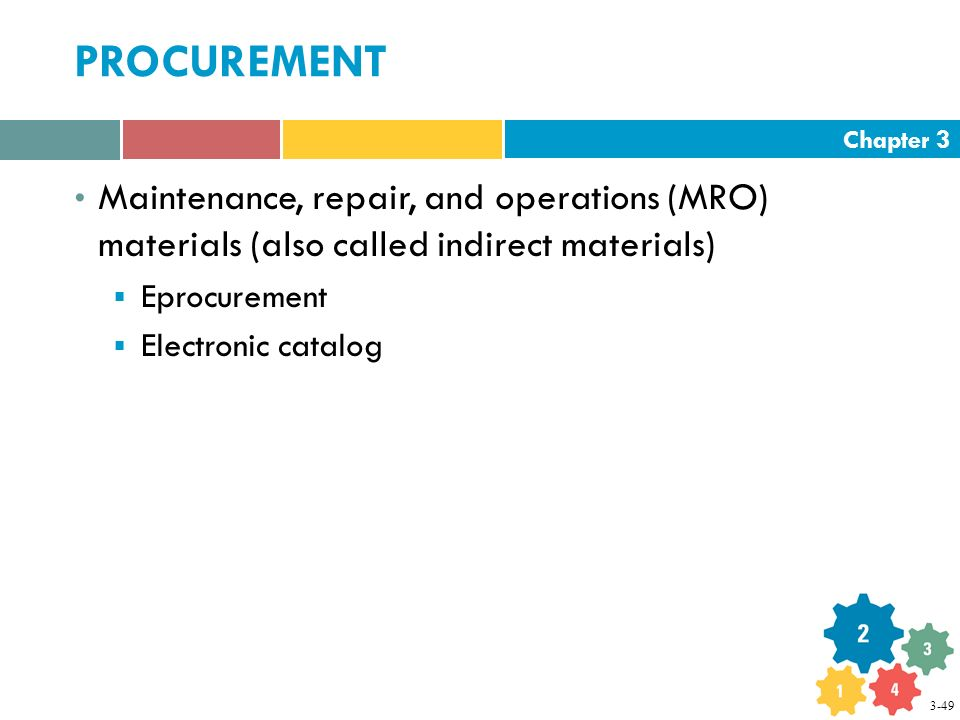 Chapter 3 PROCUREMENT Maintenance, repair, and operations (MRO) materials (also called indirect materials)  Eprocurement  Electronic catalog 3-49