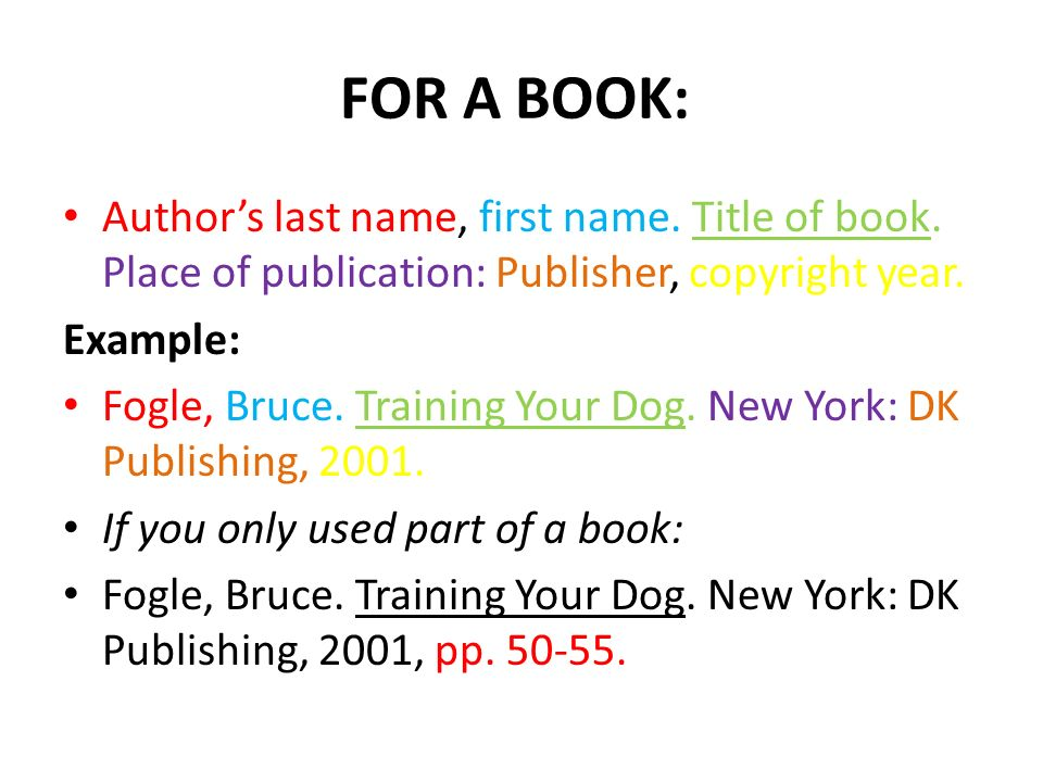 For A Book Authors Last Name First Name Title Of Book Place Of