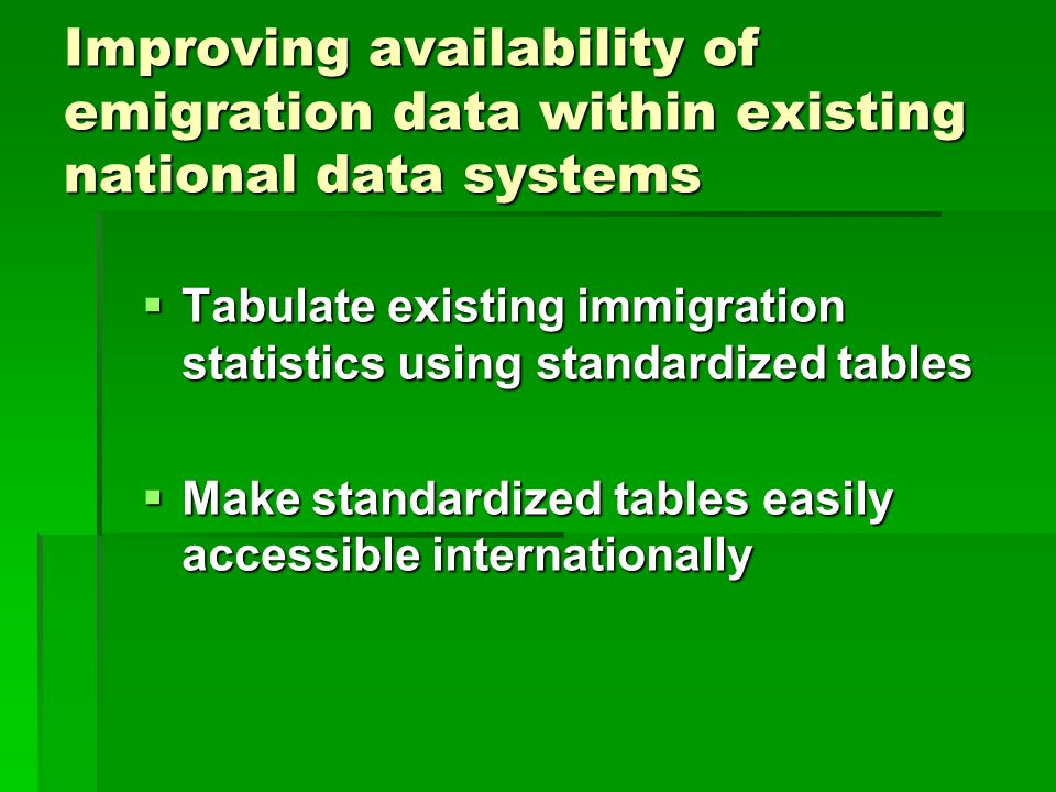 Improving availability of emigration data within existing national data systems  Tabulate existing immigration statistics using standardized tables  Make standardized tables easily accessible internationally