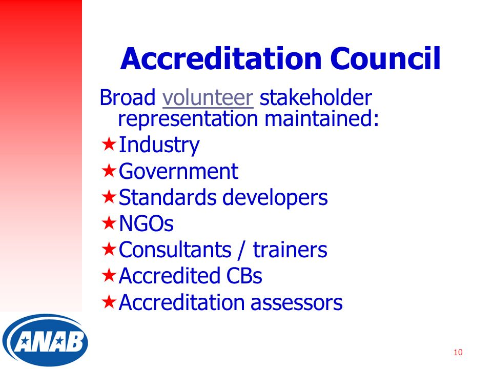 10 Accreditation Council Broad volunteer stakeholder representation maintained:  Industry  Government  Standards developers  NGOs  Consultants / trainers  Accredited CBs  Accreditation assessors