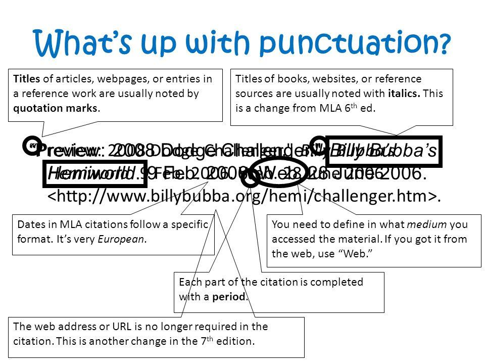 work cited websites