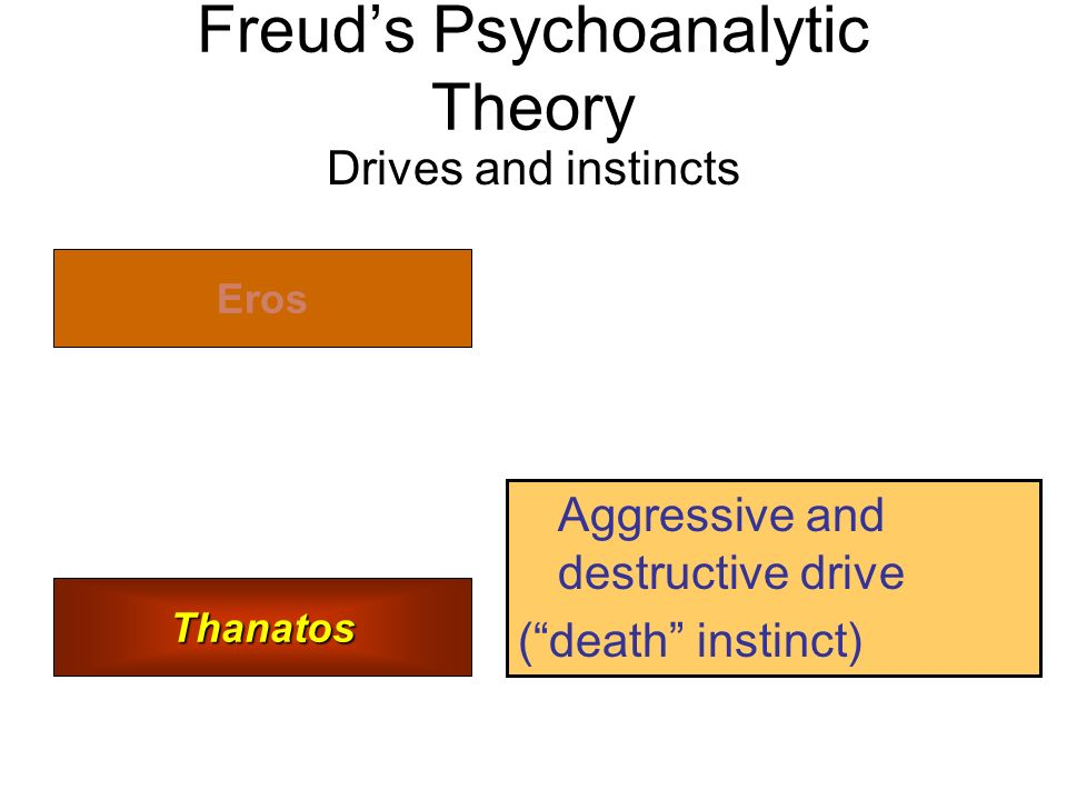 Freud's Psychoanalytic Theory Drives and instincts Eros Thanatos Aggressive and destructive drive ( death instinct)