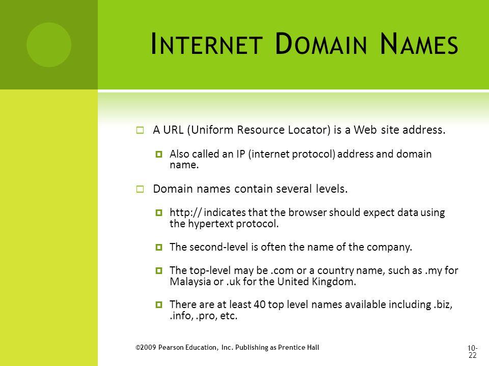 I NTERNET D OMAIN N AMES  A URL (Uniform Resource Locator) is a Web site address.