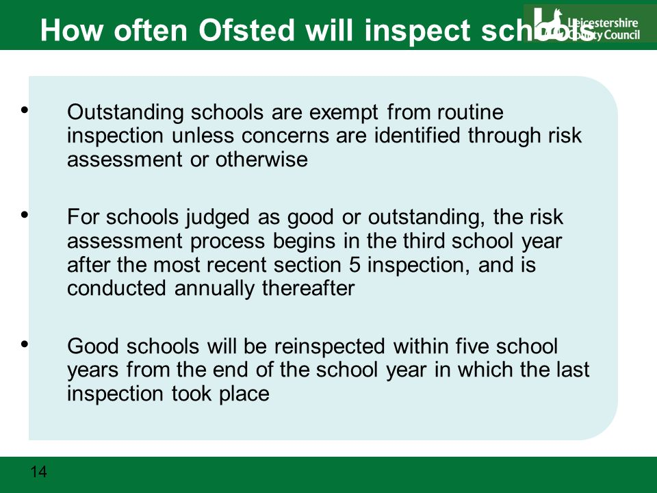 14 How often Ofsted will inspect schools Outstanding schools are exempt from routine inspection unless concerns are identified through risk assessment or otherwise For schools judged as good or outstanding, the risk assessment process begins in the third school year after the most recent section 5 inspection, and is conducted annually thereafter Good schools will be reinspected within five school years from the end of the school year in which the last inspection took place