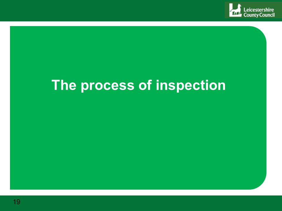 19 The process of inspection