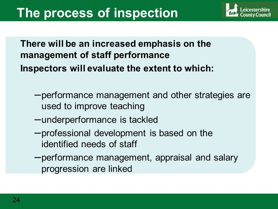 24 The process of inspection There will be an increased emphasis on the management of staff performance Inspectors will evaluate the extent to which: – performance management and other strategies are used to improve teaching – underperformance is tackled – professional development is based on the identified needs of staff – performance management, appraisal and salary progression are linked