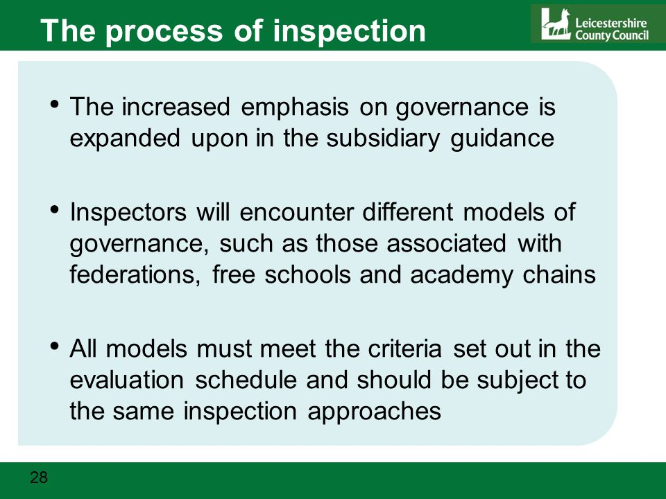 28 The process of inspection The increased emphasis on governance is expanded upon in the subsidiary guidance Inspectors will encounter different models of governance, such as those associated with federations, free schools and academy chains All models must meet the criteria set out in the evaluation schedule and should be subject to the same inspection approaches