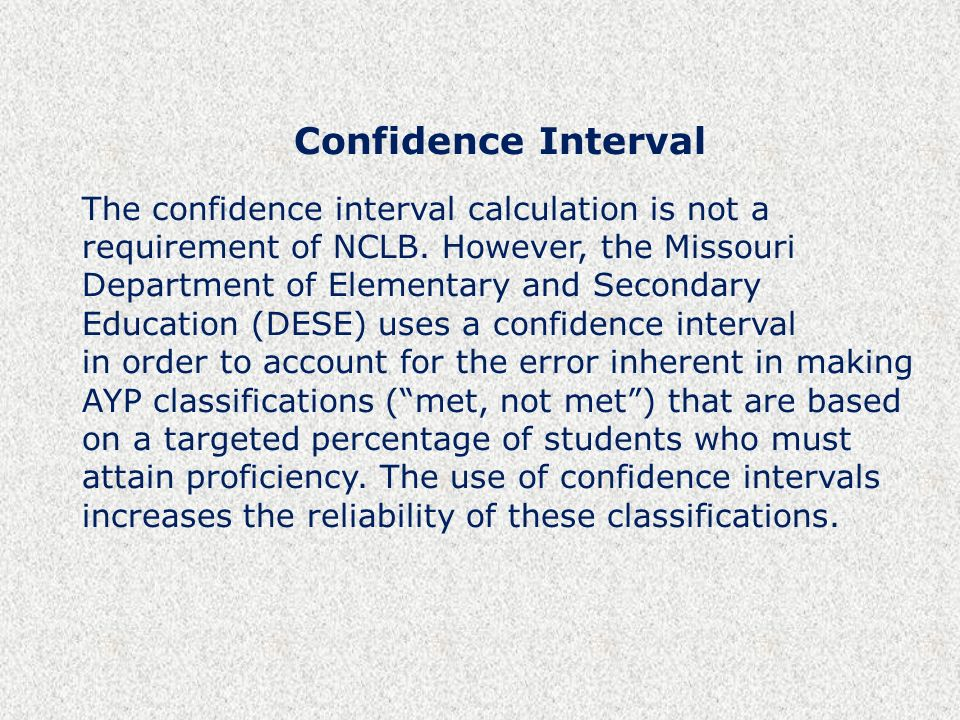 Confidence Interval The confidence interval calculation is not a requirement of NCLB.