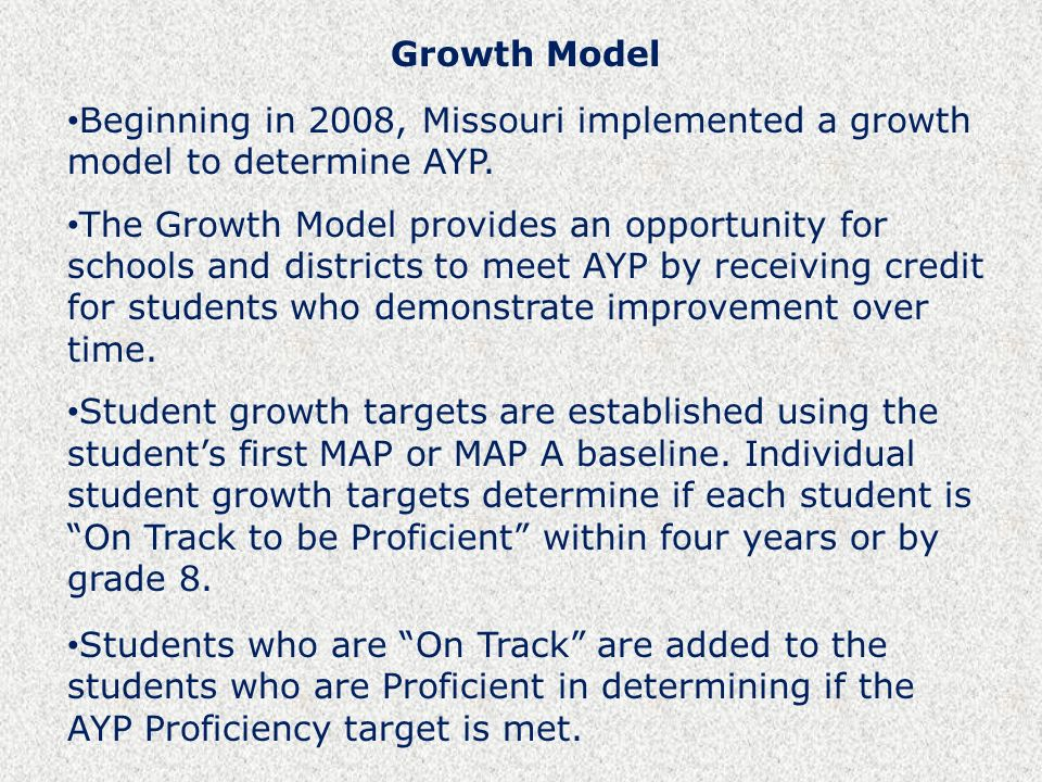 Growth Model Beginning in 2008, Missouri implemented a growth model to determine AYP.