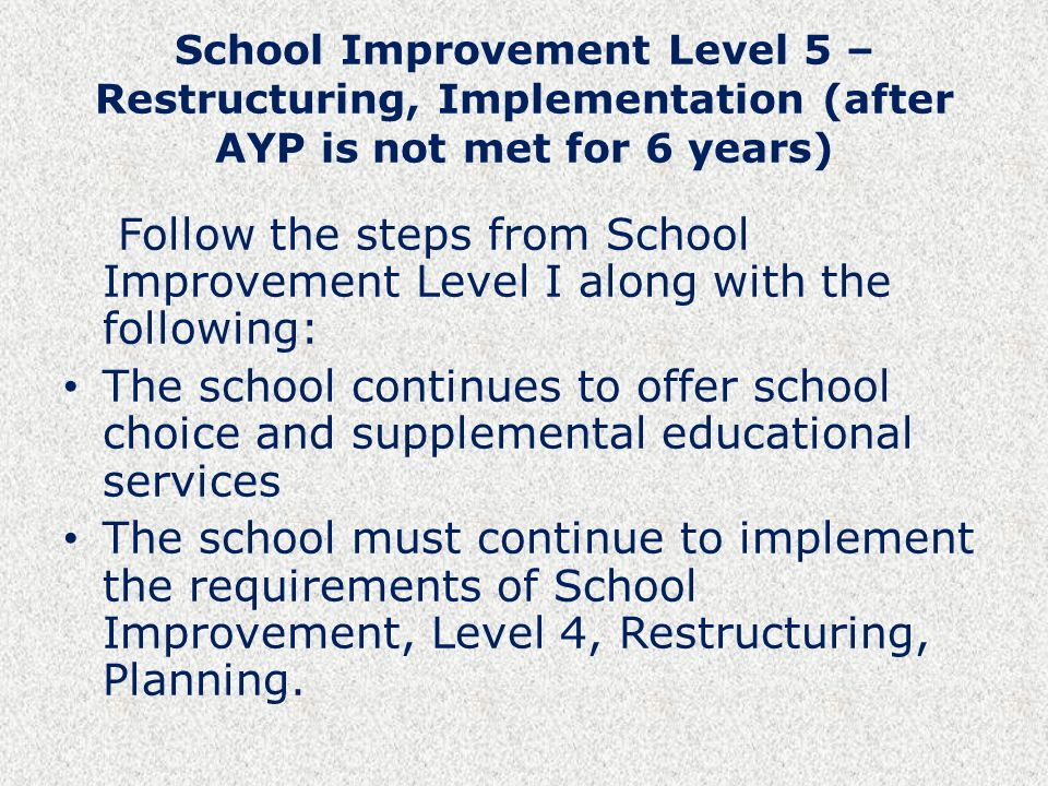 School Improvement Level 5 – Restructuring, Implementation (after AYP is not met for 6 years) Follow the steps from School Improvement Level I along with the following: The school continues to offer school choice and supplemental educational services The school must continue to implement the requirements of School Improvement, Level 4, Restructuring, Planning.