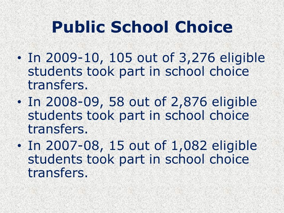 Public School Choice In , 105 out of 3,276 eligible students took part in school choice transfers.
