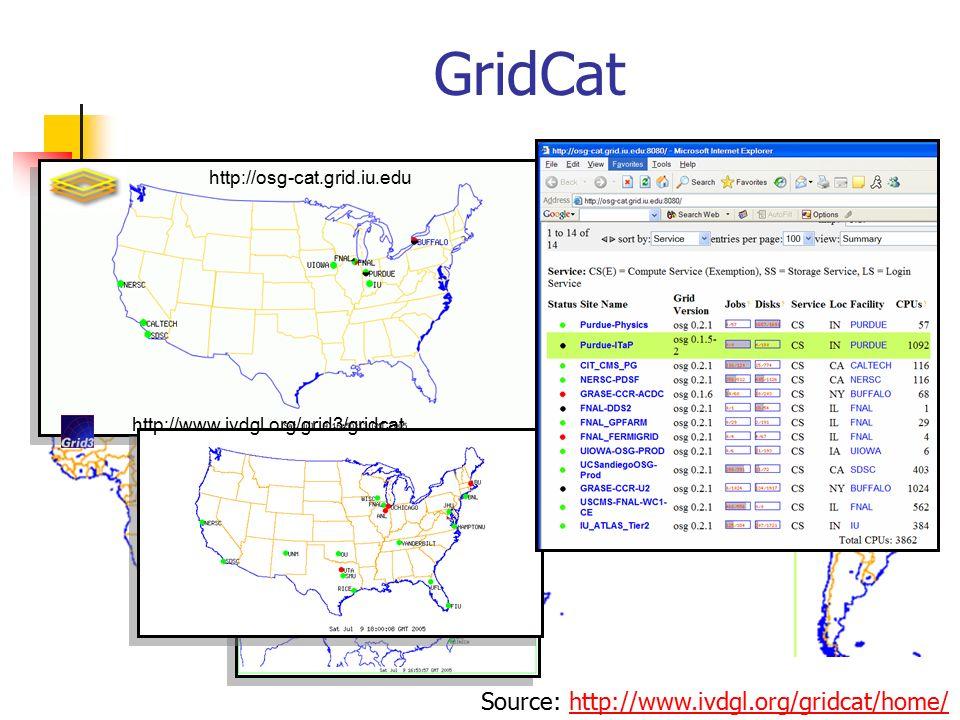 GridCat http://osg-cat.grid.iu.edu http://www.ivdgl.org/grid3/gridcat Source: http://www.ivdgl.org/gridcat/home/http://www.ivdgl.org/gridcat/home/