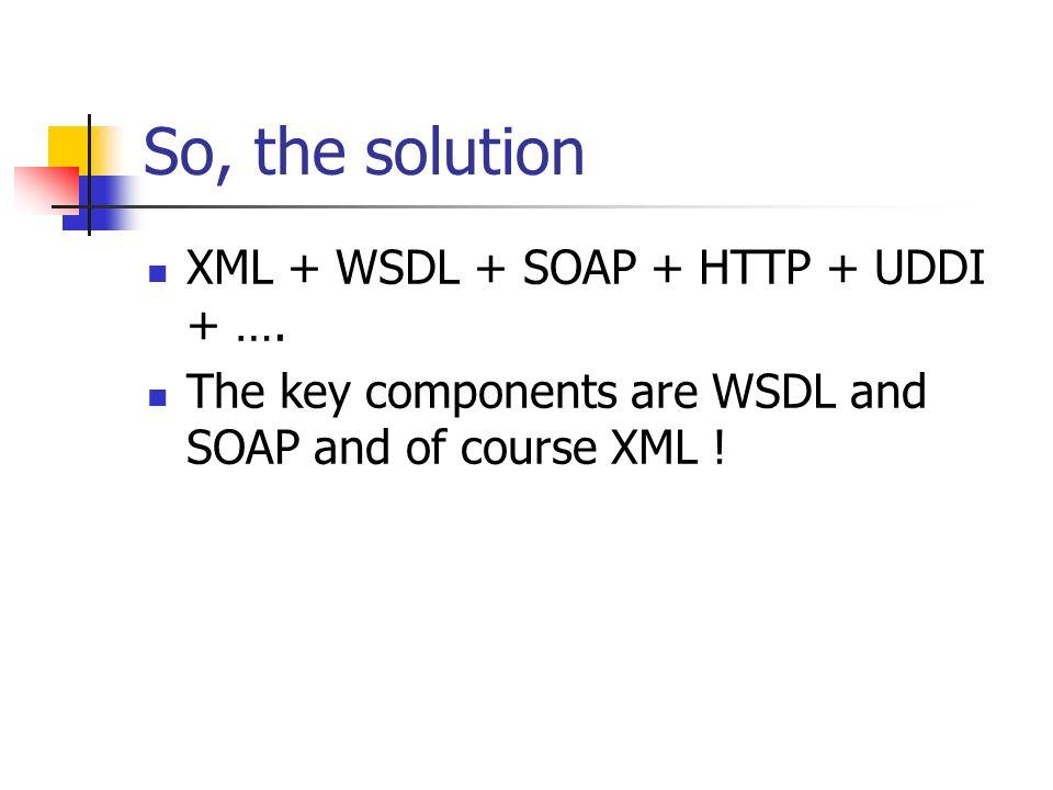 So, the solution XML + WSDL + SOAP + HTTP + UDDI + ….